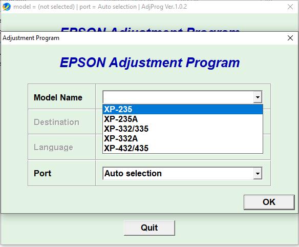 Epson XP235 XP235A XP332 XP335 XP332A XP432 XP435