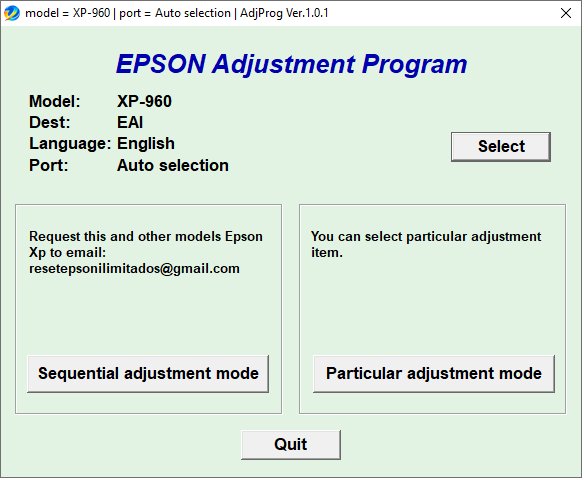 Epson XP960 adjustment Program