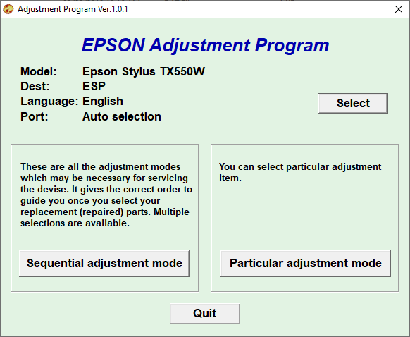 Epson TX550W Resetter Free Download