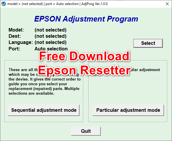 Free Download Resetter Epson Adjustment Program L Series