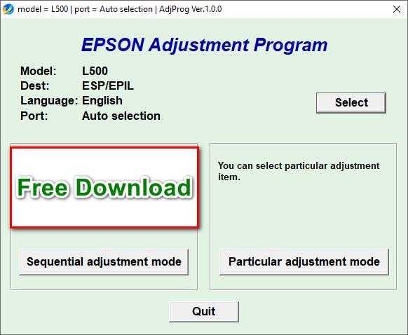 Epson L500 resetter