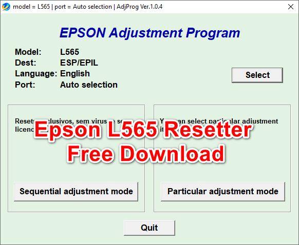 Epson L565 adjustment Program free download
