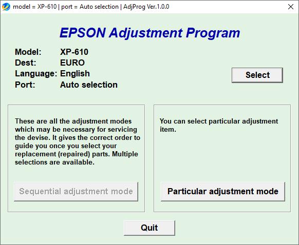Epson XP-610 Resetter Adjustment Program