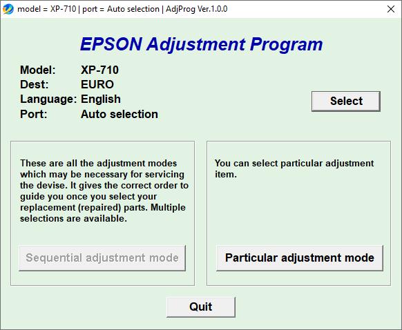 Epson XP-710 Resetter Adjustment Program