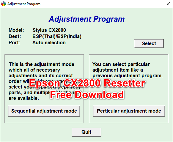 Epson CX2800 Resetter Adjustment Program Tool Free Download