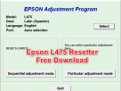 Epson L475 Resetter Tool Free Download