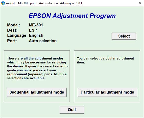 Epson ME-301 Resetter Adjustment Program Tool Free Download