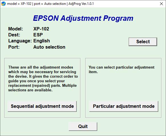 Epson XP-102 Resetter Adjustment Program Tool Free Download