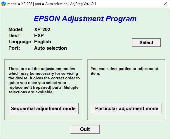 Epson XP-202 Resetter Adjustment Program Tool Free Download