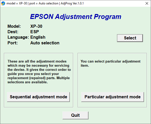 Epson XP-30 Resetter Tool Free Download